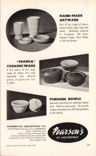 pearson company ltd 1953 peanco cook ware vase pudding bowl vintage ad