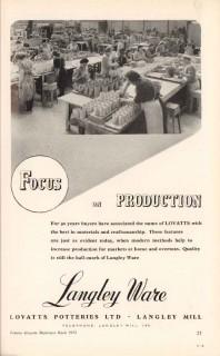 lovatts potteries ltd 1953 langley ware focus production vintage ad