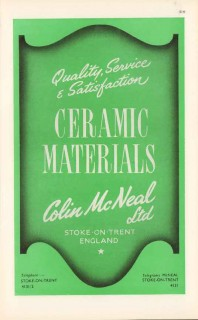 colin mcneal ltd 1947 ceramic materials quality pottery vintage ad