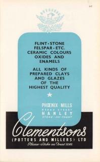 clementsons potters millers ltd 1947 clays glazes pottery vintage ad