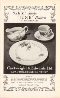 cartwright edwards ltd 1947 gem shape june pattern pottery vintage ad