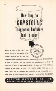 clayton mayers company ltd 1947 crystolac toughened tumbler vintage ad