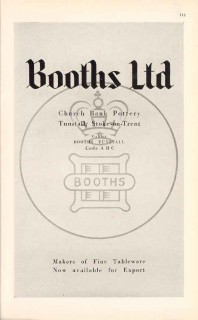 booths ltd 1947 fine tableware church bank pottery vintage ad