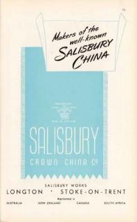 salisbury crown china company 1947 makers fine bone pottery vintage ad