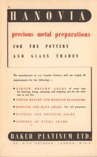 baker platinum ltd 1947 hanovia precious metal pottery vintage ad