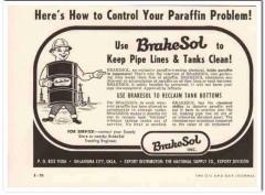 Brakesol Inc 1959 Vintage Ad Oil Pipe Line Tank Control Paraffin