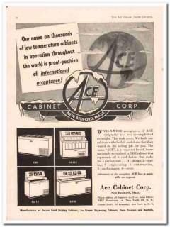 Ace Cabinet Corp 1952 Vintage Ad Ice Cream Dispensing Low Temperature