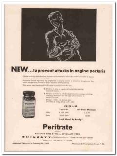 chilcott laboratories inc 1952 peritrate angina medical vintage ad