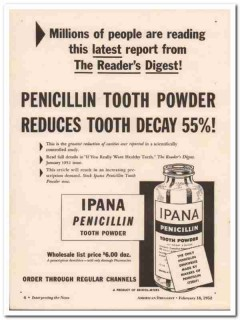 bristol-myers 1952 ipana penicillin tooth powder medical vintage ad