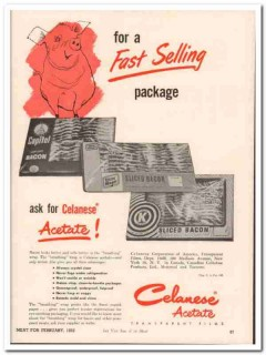 celanese corporation america 1952 acetate meat packing vintage ad