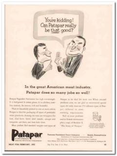 paterson parchment paper company 1952 patapar meat packing vintage ad