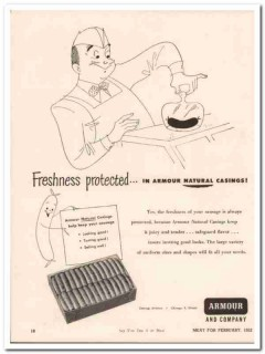 armour company 1952 freshness protected casing meat packing vintage ad
