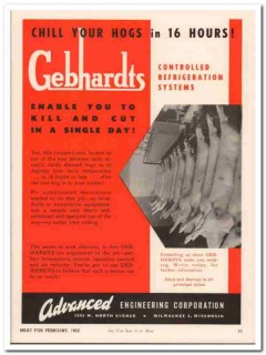 advanced engineering company 1952 gebhardts refrigeration vintage ad