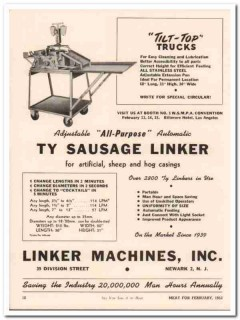 linker machines inc 1952 ty sausage maker meat packing vintage ad