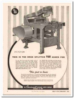 cincinnati butcher supply company 1952 boss head splitter vintage ad