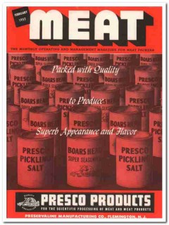 preservaline mfg company 1952 presco products meat packing vintage ad