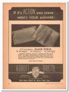 Abbott Bristol Company 1946 Vintage Ad Leather Slack Purse Action