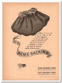 acme backing corp 1946 seldom bagmaker quality handbag vintage ad