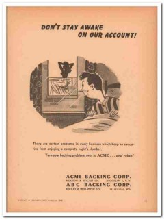 acme backing corp 1946 dont stay awake account handbag vintage ad