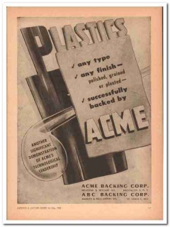 Acme Backing Corp 1946 Vintage Ad Luggage Plastics Any Type Finish