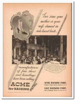Acme Backing Corp 1946 Vintage Ad Luggage Handbags Side-Laced Boots