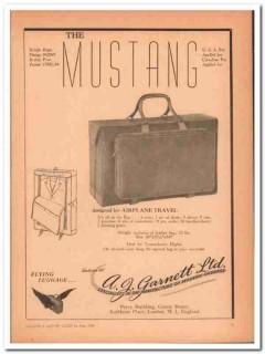 A J Garnett Ltd 1946 Vintage Ad Luggage Design Airplane Travel Mustang