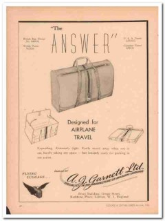 A J Garnett Ltd 1946 Vintage Ad Luggage Design Airplane Travel Answer