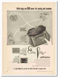 A J Siris Products Company 1946 Vintage Ad Elaine Peters Petti-Purse