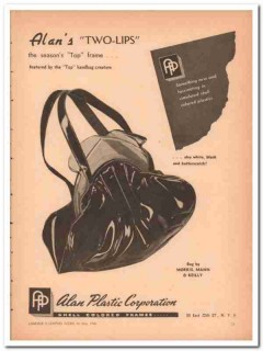 alan plastic corp 1946 two-lips morris mann reilly handbag vintage ad