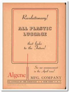 Algene Mfg Company 1946 Vintage Ad Luggage All Plastic Revolutionary