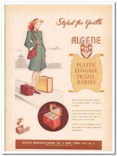 Algene Mfg Company 1946 Vintage Ad Luggage Plastic Radio Styled Youth