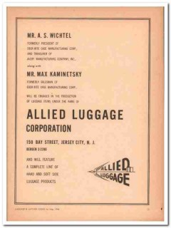 Allied Luggage Corp 1946 Vintage Ad Eber-Rite Case Wichtel Kaminetsky
