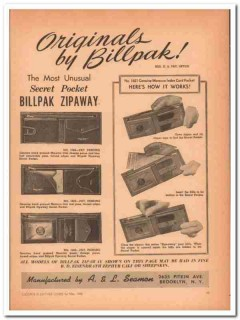 A L Seamon Company 1946 Vintage Ad Leather Wallet Billpak Zipaway