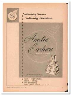 Amelia Earhart Luggage Company 1946 Vintage Ad Nationally Known
