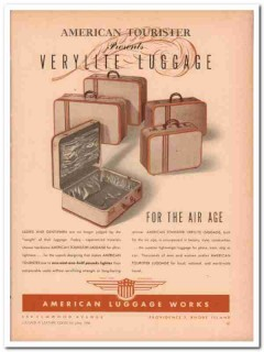 American Luggage Works Inc 1946 Vintage Ad Tourister Verylite Air