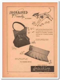 amity silk corp 1946 ingrained beauty plastic handbag vintage ad