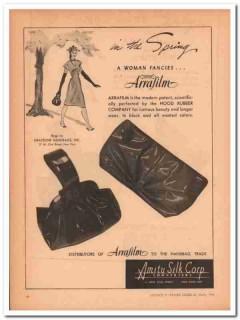 amity silk corp 1947 hood rubber arrafilm graceline handbag vintage ad