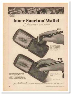 Aristocrat Leather Products Inc 1946 Vintage Ad Wallet Advertised