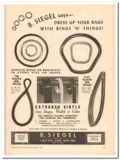 b siegel company 1946 dress bags vinyl rings things handbag vintage ad