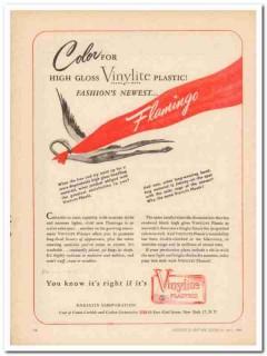 bakelite corp 1946 flamingo color vinylite plastic handbag vintage ad