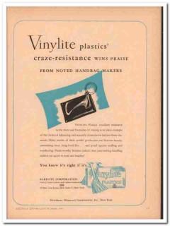 bakelite corp 1946 vinylite plastic craze resistant handbag vintage ad