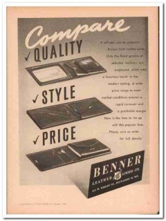 Benner Leather Goods Company 1946 Vintage Ad Wallet Compare Quality