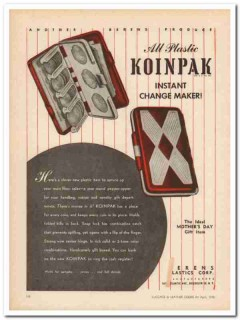 berens plastic corp 1946 koinpak mothers day coin case vintage ad