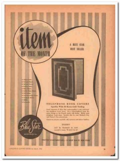 Blue Star Leather Novelty Company 1946 Vintage Ad Telephone Book Cover