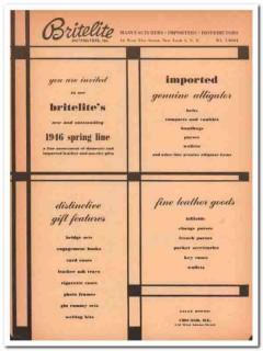 Britelite Distributors Inc 1946 Vintage Ad Leather Goods Alligator