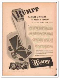 C F Rumpp Sons 1946 Vintage Ad Personal Leather Goods Quality Century