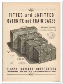 Classy Novelty Corp 1946 Vintage Ad Luggage Cases Overnite Train