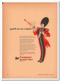 Conmar Products Corp 1946 Vintage Ad Luggage Zipper Flash Flawless
