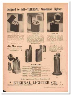 eternal lighter company 1946 windproof designed to sell vintage ad
