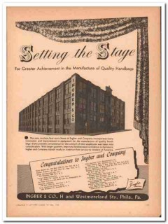 inger company 1946 setting stage new home quality handbag vintage ad